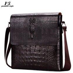 Luxo em relevo padrão de jacaré design de moda dos homens de alta qualidade mensageiro saco masculino negócios ombro couro sacos aleta viagem
