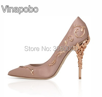 Spring New Arrivals 2018 Metal Flower Embellished High Heels Dress Wedding Shoes For Ladies Sexy Pointed Toe Woman Slip-on Pumps