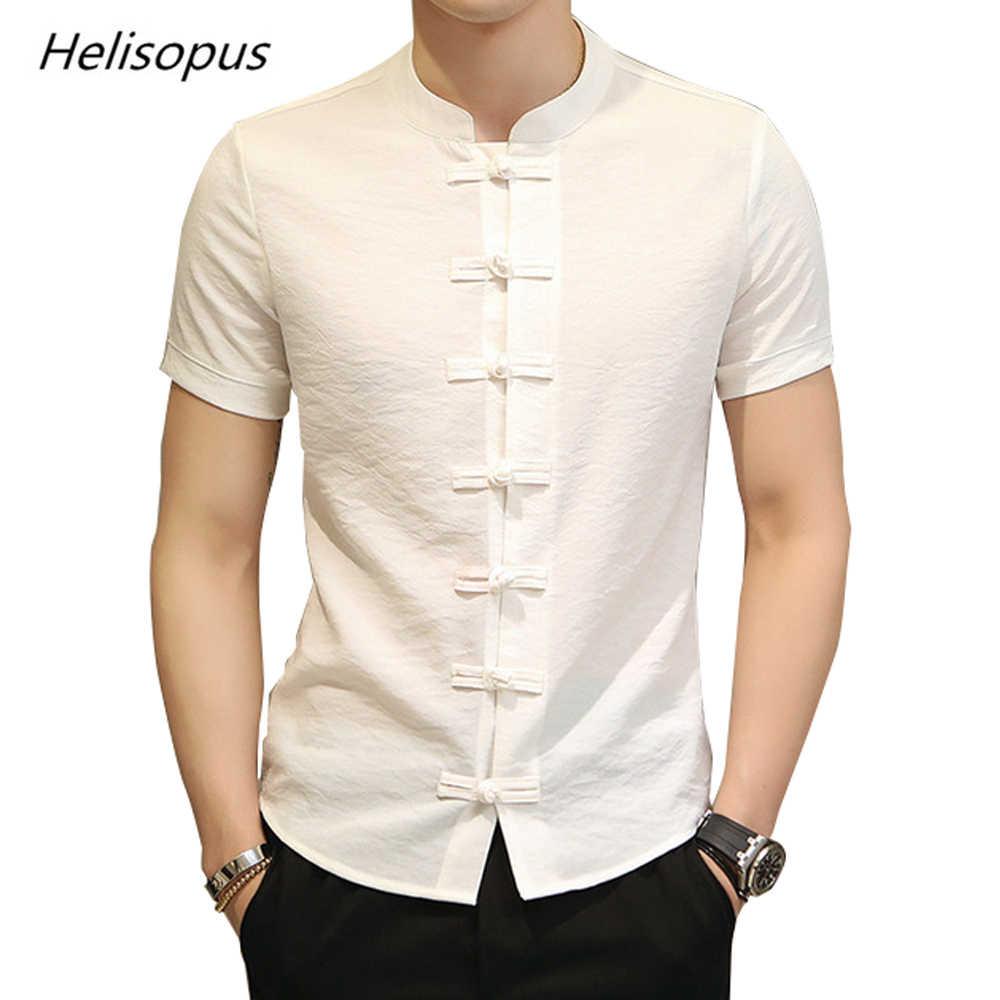 15420a26b Helisopus Men Slim Fit Shirt Vintage Cotton Linen Short Sleeve Dress Shirt  Kung Fu Shirt Camisa