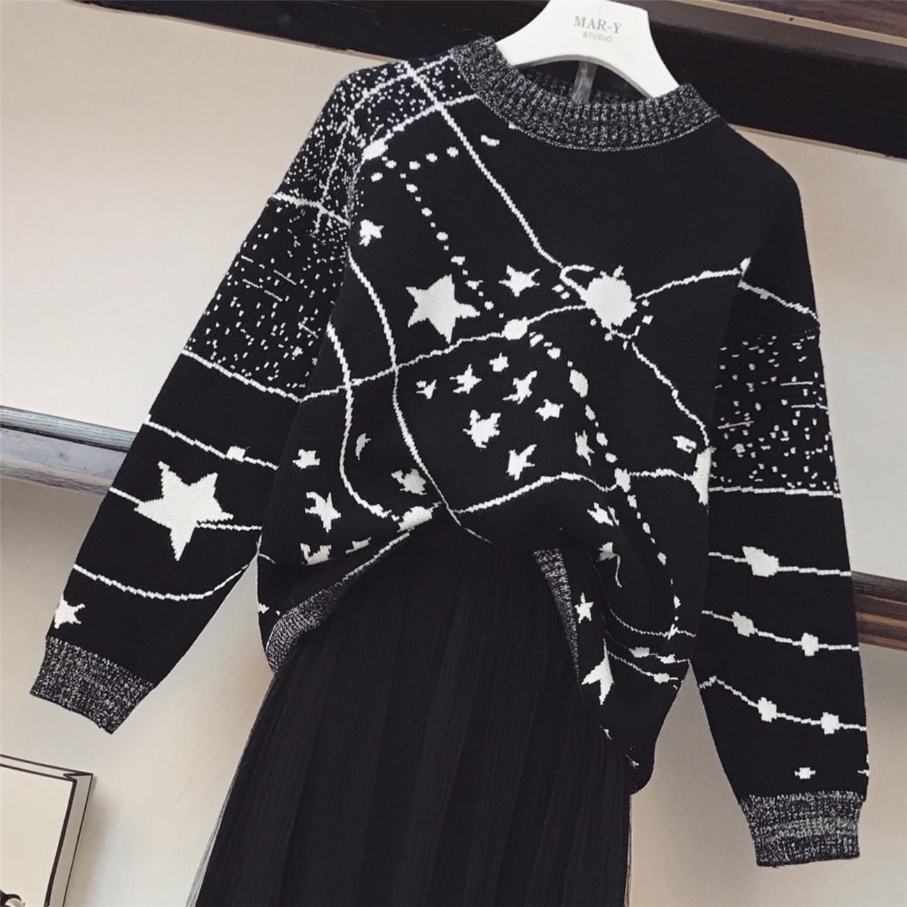 Mode Nouveau 2018 Black Femme Gaze Bal Impression Et Jupes Chandails Robe Cou Automne De Blanc Costumes Ensembles Femmes Noir O tRdqdAw