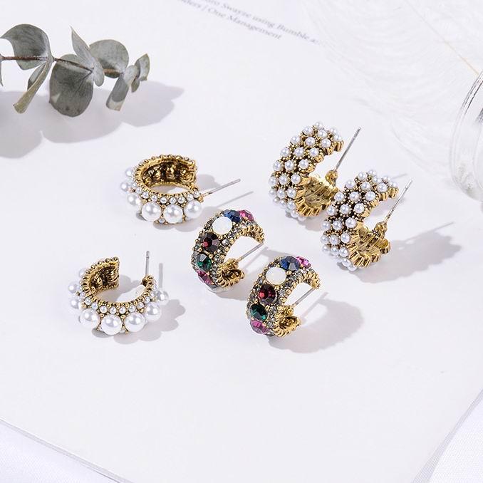 MENGJIQIAO 2019 New Hot Sale Vintage Colorful Rhinestone Small Hoop Earrings Women Fashion Simulated Pearl Semicircle