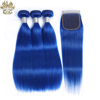King Hair Blue Human Hair Bundles With Closure Pre Colored Brazilian Straight Human Hair Extension Remy Hair Weaves With Closure