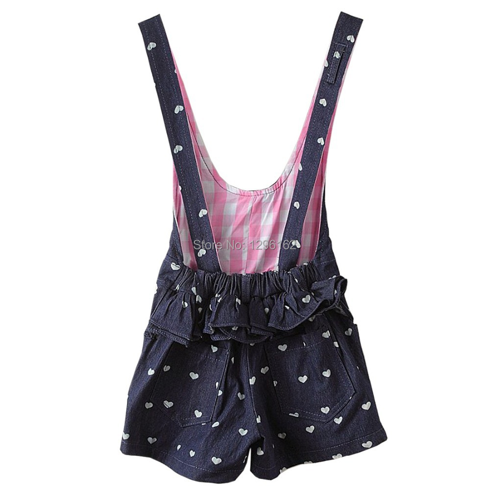 e430dff0e67 Kids Girls Cute Heart Print Gallus Denim Overalls Jumpsuits Shorts for 2 7Y  FT734-in Overalls from Mother   Kids on Aliexpress.com