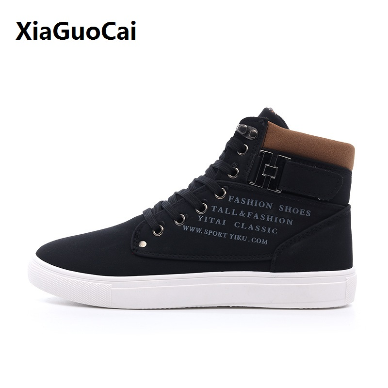 XiaGuoCai Man Boots High Top Spring Autumn Big Size 38-47 Fashion Breathable Ankle Boot swaterproof Walking Flat Shoes Man Shoes xiaguocai 2018 summer big size men flip