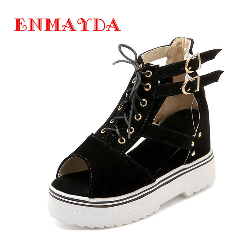 ФОТО ENMAYDA New Women Fashion Style Womens Shoes Heels and Wedges 4 Colors Black Lace-up  High Heel Shoes Woman Sandals Size 34-43