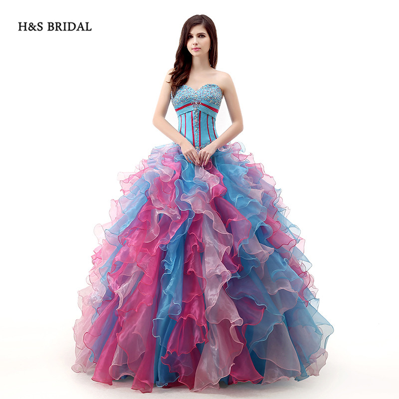 H&S BRIDAL Rainbow Colorful Organza Ball Gown Prom Dresses ...