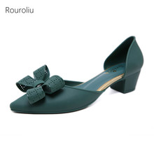 Rouroliu Women Summer Bowknot Jelly Shoes Non-Slip Waterproof Pointed Toe Beach Sandals Woman Mid Heel Casual Shoes FR96 цены