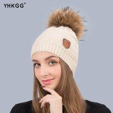 YHKGG moda 2017 Raccoon Pom sombrero de Invierno Caliente mujeres punto  elástico Cachemira sombreros cáñamo patrón suave Caps Mu. ecf05991b03