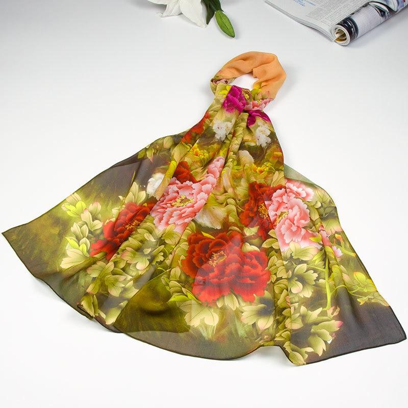 Шелковый шарф женский Шарф Пион Шелковый платок Топ дизайнерский шарф женский Шелковый Пашмина длинный тонкий Шелковый шарф роскошный подарок для леди