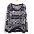East Knitting Long Sleeve Sweaters for Women 2016 Vintage Totem Loose Pullovers Short  Top Sale A351