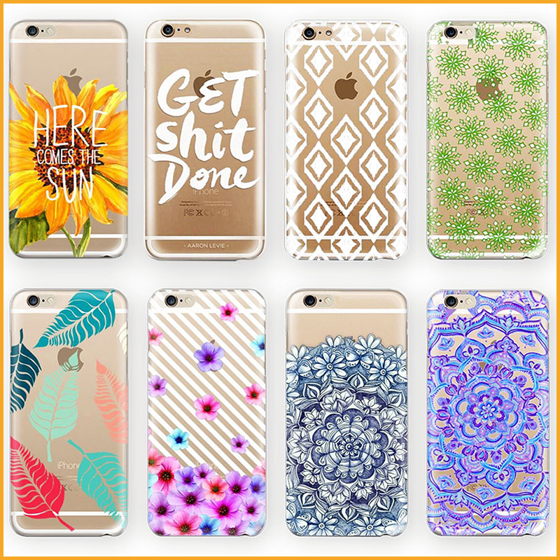 Sunflower plant leaves pattern transparent soft tpu case for Cell phone cover design ideas