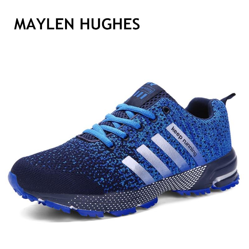 ¡Oferta! 2018 nuevos zapatos de correr de tendencia para hombre, zapatillas de deporte, zapatos de malla transpirables para mujer, zapatos deportivos, tallas grandes 35--47