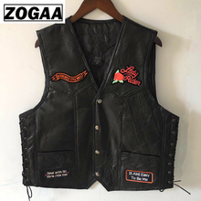 ZOGGA 2019 Fashion Windproof Male Genuine Leather Vest High Quality Anti-shrink/pilling Motorcycle Vest Plus SIZE 4XL Vests