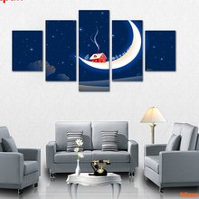 House On The Moon Cartoon Christmas Canvas Art Print Painting Unframed Prints And Poster 5 Pieces/Set Printing Home Decor(China)