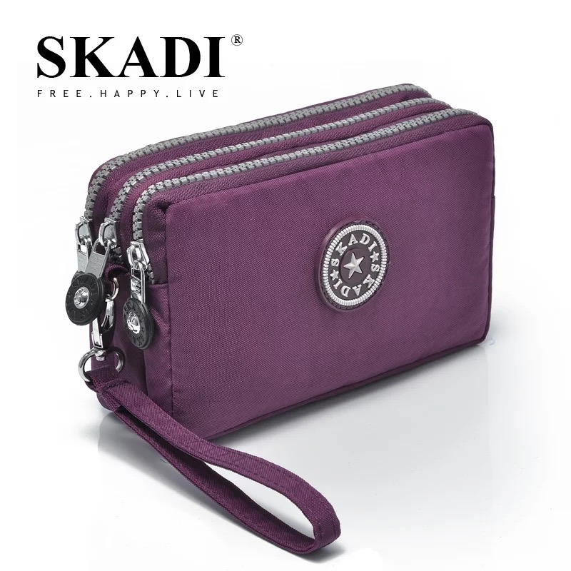 SKADI Women Waterproof Purse Famous Band Wallet Coin Cluth Nylon Bags Phone Bag Zipper Femmina Russia Lady Gift Sac A Main w 298 stylish nylon cell phone bag change purse black