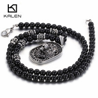 China Jewelry Manufacturer Kalen Newest Glass Beaded Stainless Steel Lion Pendant Statement Necklace For Men Collar