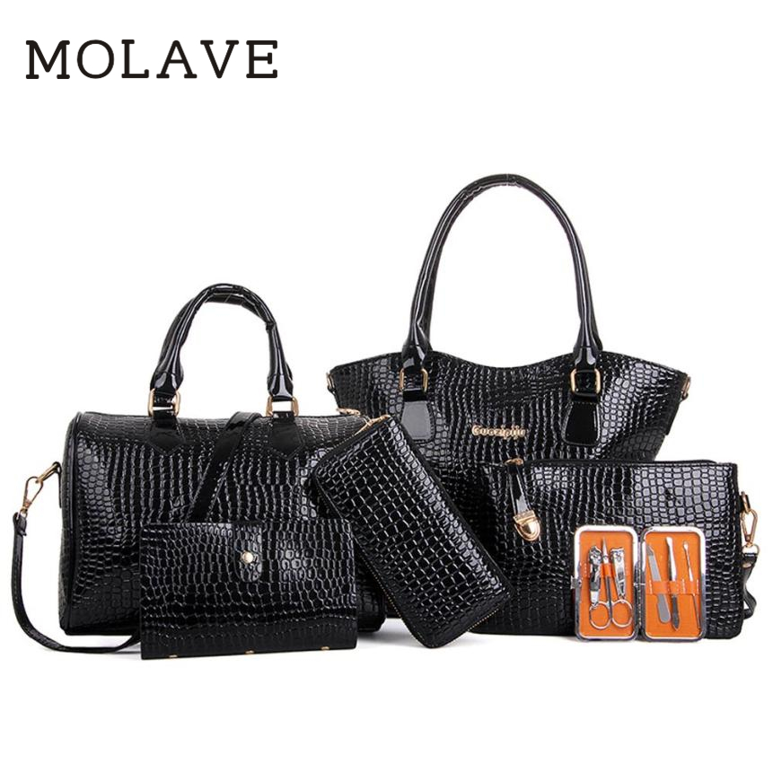 MOLAVE Handbag bag female	Solid bags for women pu leather Women Six Set Fashion Handbag Shoulder Bags Six Pieces Tote Bag JAN19