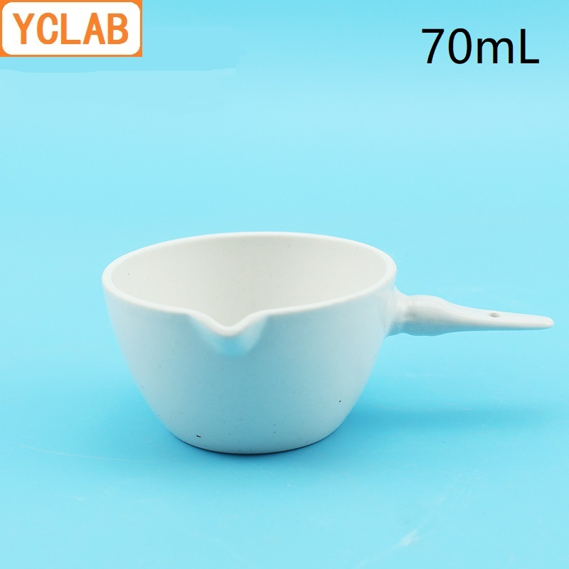 YCLAB 70mL Ceramic Evaporating Dish With Handle Pottery Porcelain Crockery Earthen Laboratory Chemistry Equipment