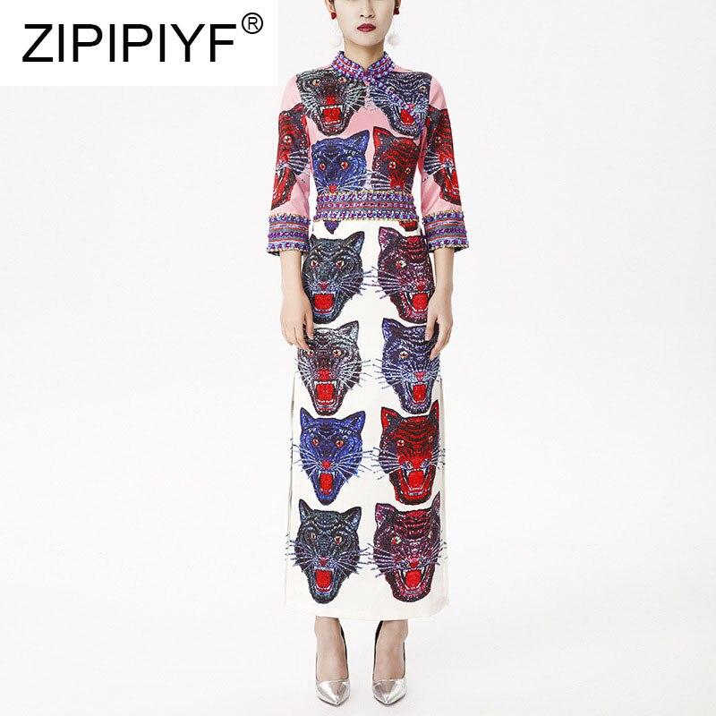 Cheongsam Qualité Célébrités Moulante Vintage Perles Tigre 2018 Longue Robes De Femmes Automne Style 3xl Robe Haute Impression Mode zqGLpUMSV