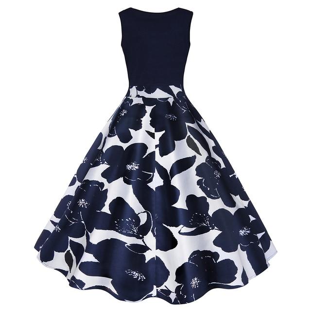 4 Color S-5XL Floral Print High Waist Vintage Dress