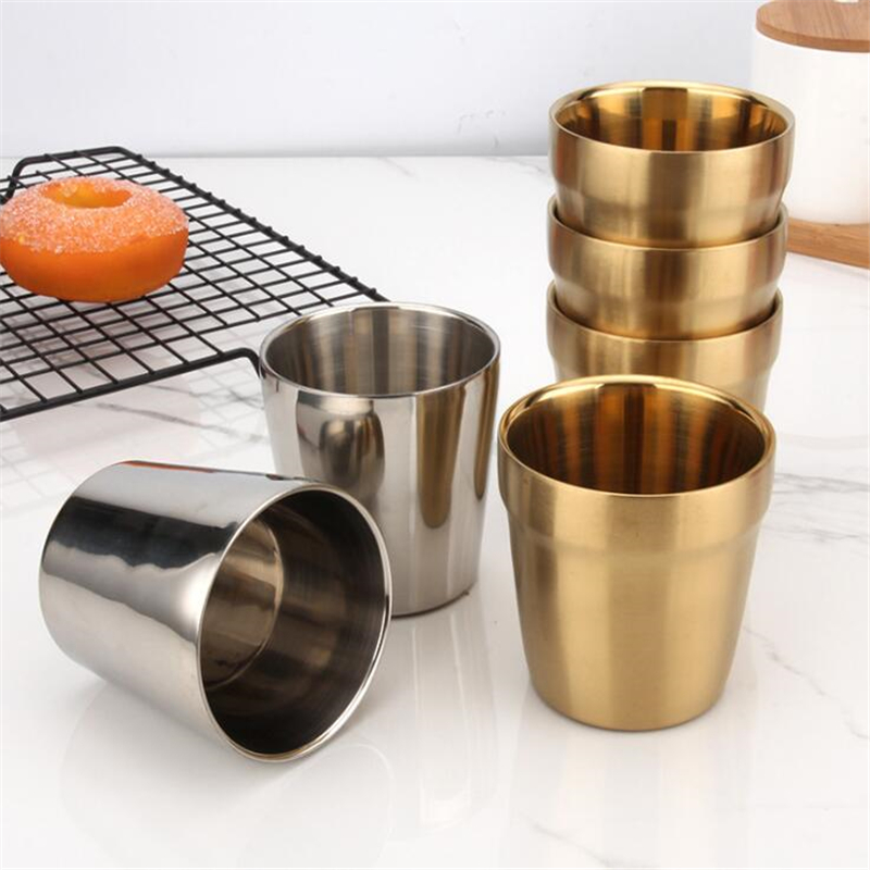 Stainless Steel Juice Beer Cup Ice Cold Water Mug Nordic Style Durable Stackable Pint Cups Juice Mug Coffee Cup Drinking Cups