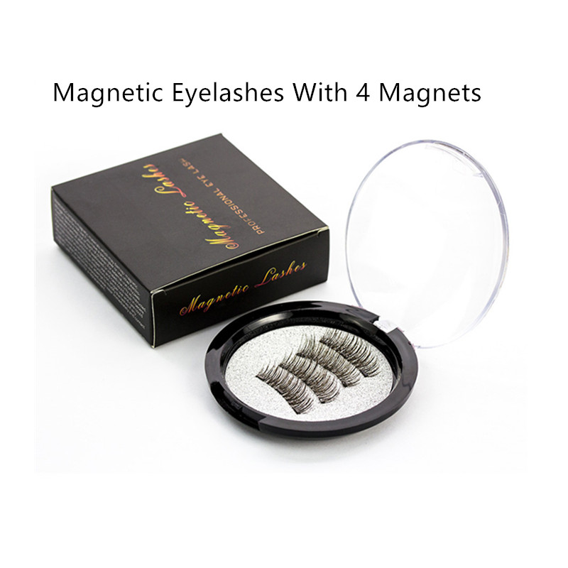 Handmade Natural <font><b>Magnetic</b></font> <font><b>Eyelashes</b></font> <font><b>With</b></font> <font><b>4</b></font> <font><b>Magnets</b></font> False <font><b>Eyelash</b></font> <font><b>With</b></font> Box Acrylic <font><b>Magnet</b></font> Lashes Makeup Tool 20# image