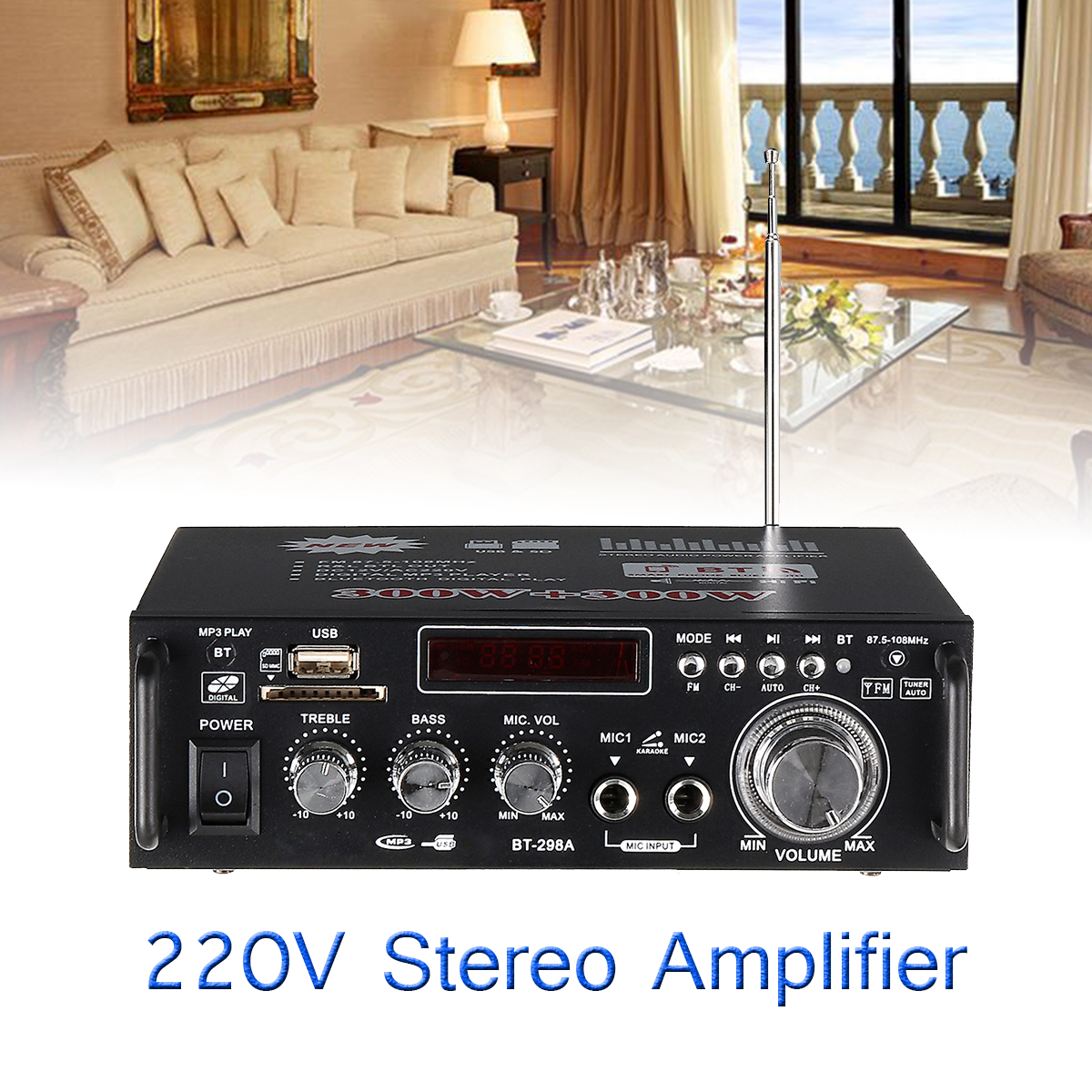 цена на 1600w Home Amplifiers Audio Bluetooth Amplifier Subwoofer Amplifier Home Theater Sound System Mini Amplifier Professional