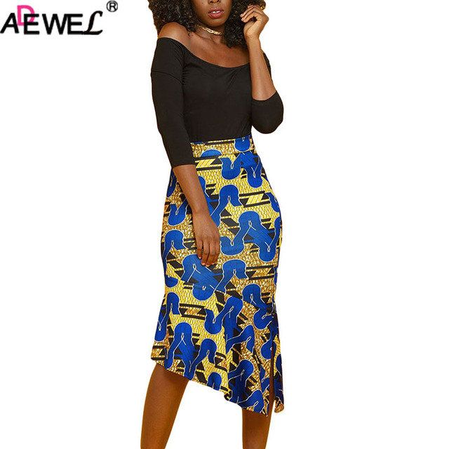 cd109260ae ADEWEL Summer African Printed Skirts Womens Stretch Pencil Skirt Side  Zipper High Waist Bodycon Sexy Midi Skirt for Office Wear