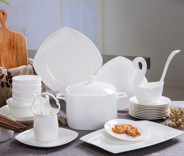 High-grade bone china tableware set Pure white color dinnerware set simple cerative ceramic bowl : white bone china dinnerware sets - pezcame.com