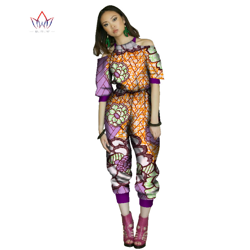 beautiful and cheap african women jumpersuit with print women african clothing halter dashiki pant plus size regular 7xl WY1041