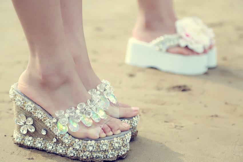 ФОТО crystal pendant crystal rhinestone transparent straw braid wedges sandals slippers handmade rhinestone shoes