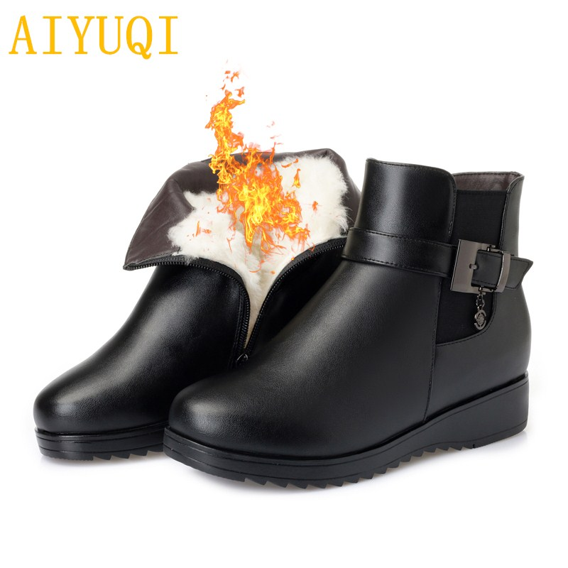 AIYUQI Snow boots women big size 41 42 43 # 2018 new genuine leather womens booties shoes,Thick wool mother winter boots aiyuqi spring new genuine leather women shoes rhinestone breathable plus size 41 42 43 comfortable light mother shoes women