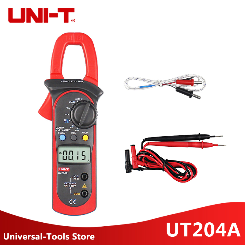 UNI T UT204A 400 600A Handheld Clamp Meters UT204A UT203 AC DC Temperature Capacitor 600A Current