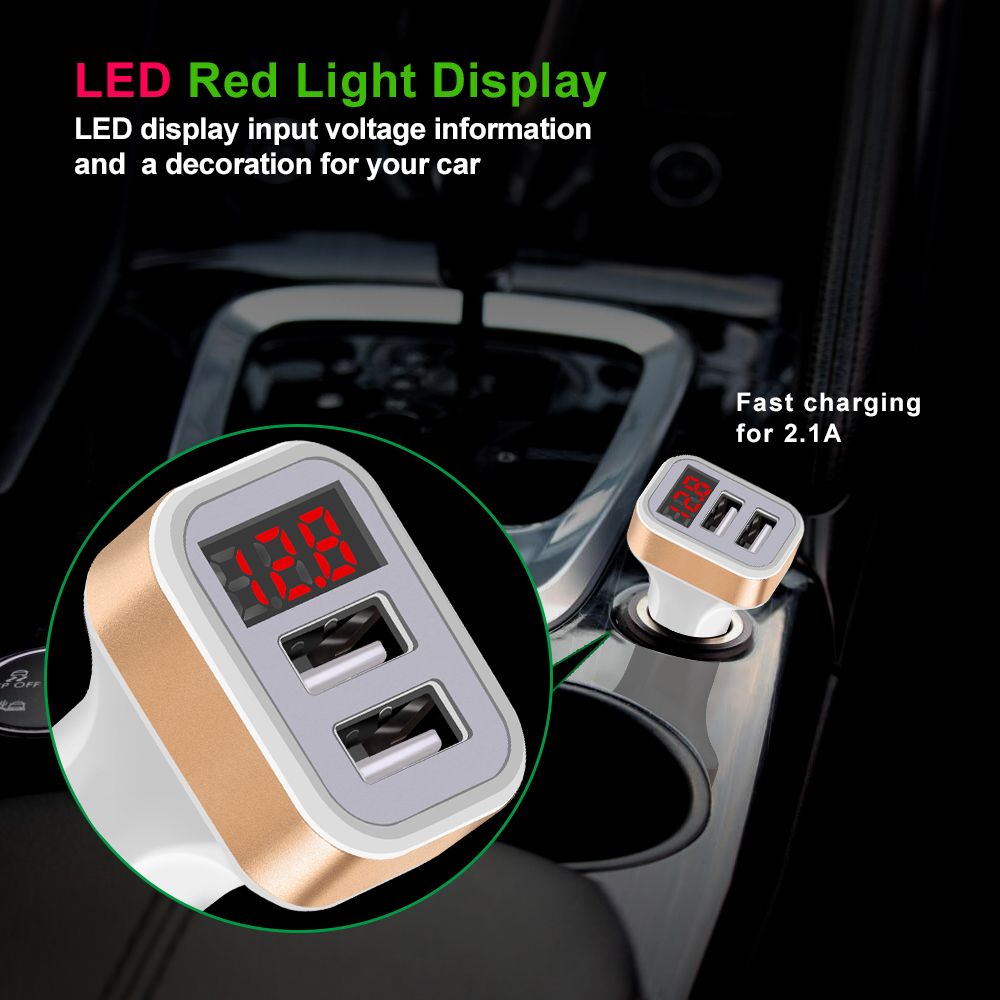 LED Red Digital Display Dual USB Car Charger For iPhone X Xiaomi Samsung S8 Voltage Monitoring Fast Phone Charging Universal (3)