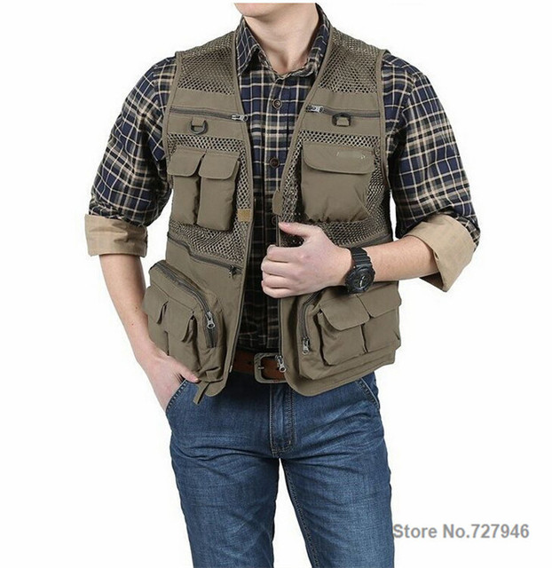 2016 New Arrival Plus Size Male Casual Multi-Pocket Film Vest Mesh Vest Jacket Sleeveless Jacket M-4XL