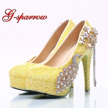 Lemon Yellow Rhinestone Women Wedding Shoes Factory Seller Wholesale Price  Wedding Banquet Party High Heels Customized 31d920c0b6ea