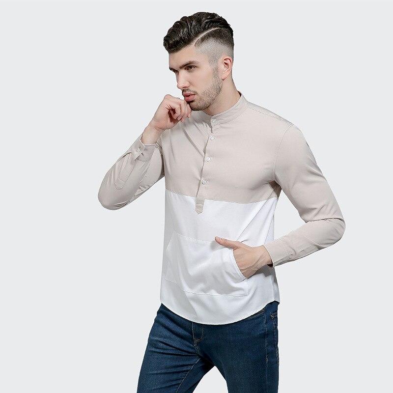 Patchwork Shirt Men 2017 Brand New Men Shirt Long Sleeve O Neck Chemise Homme Slim Fit Casual Button Down Mens Dress Shirts 2XL