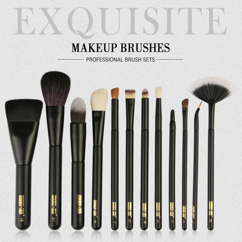MAANGE 12 Pcs Synthetic Hair Soft Powder Foundation Blush Eyeshadow Lips Make Up Brush Kit Make Up Tools 10 pcs soft synthetic hair make up sets