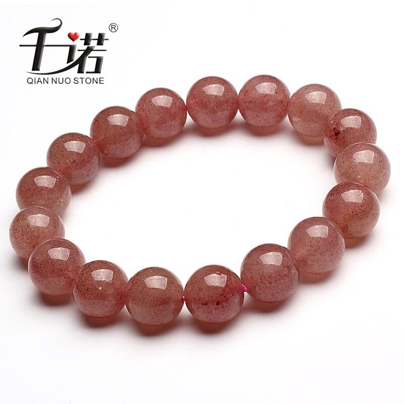Naturel fraise bracelet hommes et femmes accessoires rose bracelet naturel rose cristal bracelet dr. pêche pierre