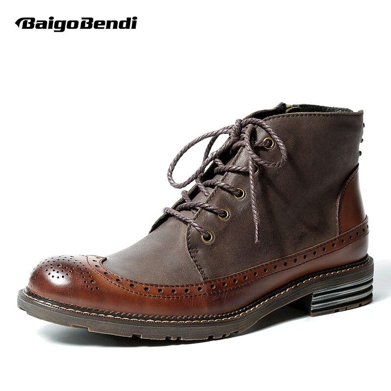 البريطانية نمط رجل جلد طبيعي الدانتيل يصل البروغ حذاء أيرلندي قمة الجناح الأحذية عارضة الشتاء اللباس الرسمي أوكسفورد نقش شبكي الأحذية-في أحذية برقبة أساسية من أحذية على  مجموعة 1