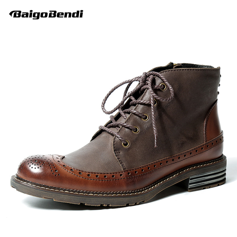 British Style Mens Genuine Leather Lace Up Brogue Wingtip Martin Boots Casual Winter Formal Dress Oxfords Fretwork Boots цены онлайн