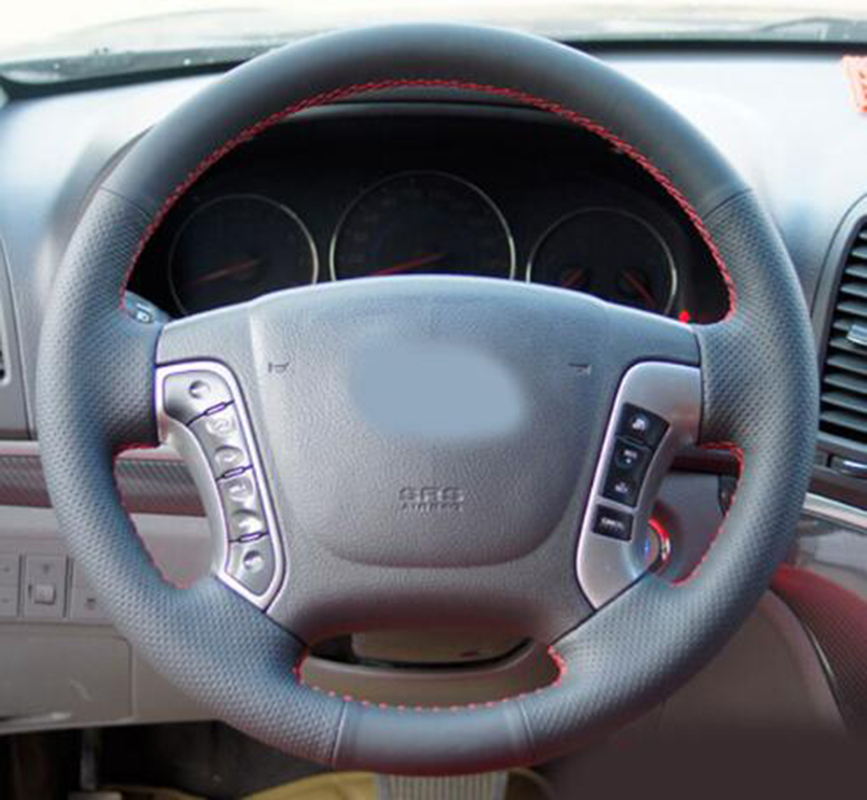Car-styling Leather Hand-stitched Car Steering Wheel Covers For Hyundai Santa Fe 2006-2012 Car accessories защита автоброня для картера и кпп hyundai santa fe 2001 2006 santa fe classic 2006 2012 jac rein 2007 2011 tagaz с190 2011 2013 сталь 2 мм