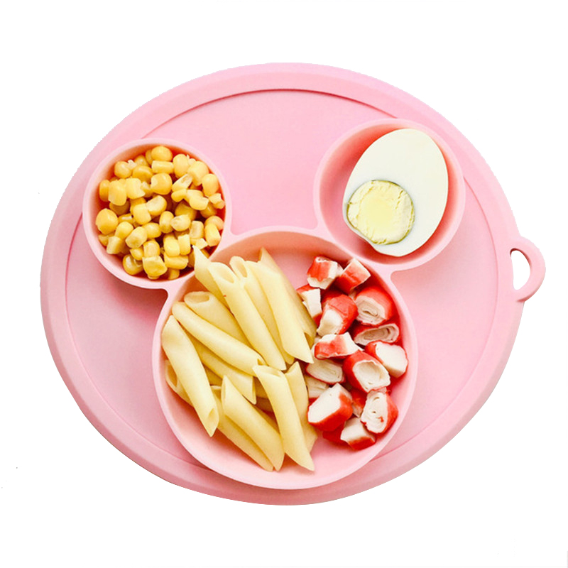 Baby Feeding Platos Suctorial Cartoon Dining Spoon Baby Plate Dishes Tableware Fruit Dishes Kids Bowl Feeding Dinnerware Plates