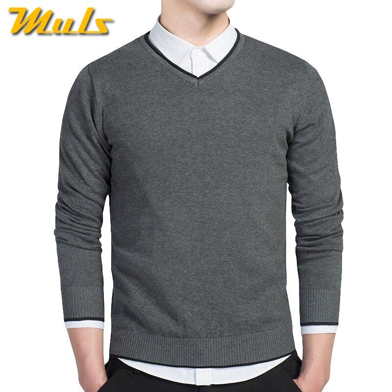6 Цвета хлопковый свитер для мужчин V шеи мужские свитера пуловер Джерси мулс бренд на осень-зиму 4xl трикотаж платье Мужской 2016 ms8891