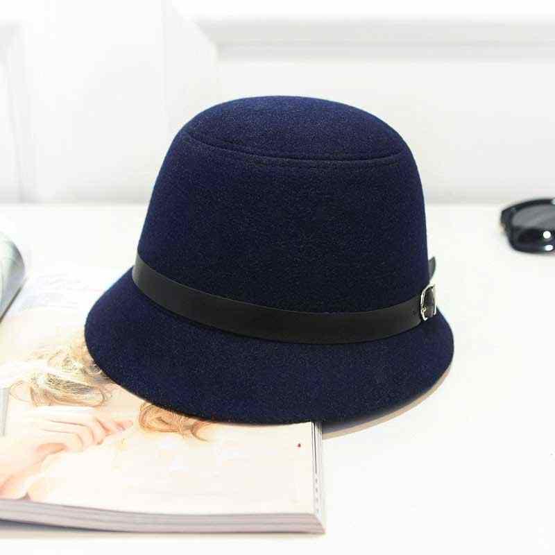 Baru Wanita Wol Bowler Fedoras Musim Dingin Wanita Topi Warna Solid Merasa Topi Silinder Topi Wanita Vintage Topi topi Elegan