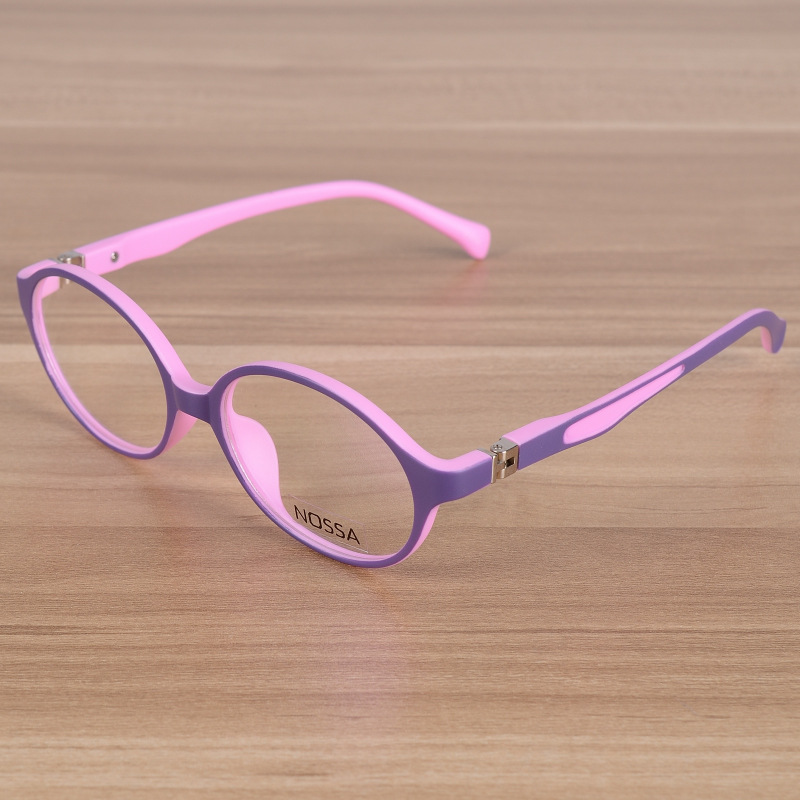 Kids Eyeglasses Børn Fleksibel TR90 Plain Glasses Frame Optical Prescription Eyewear Frames Piger Drenge Pink Round Briller