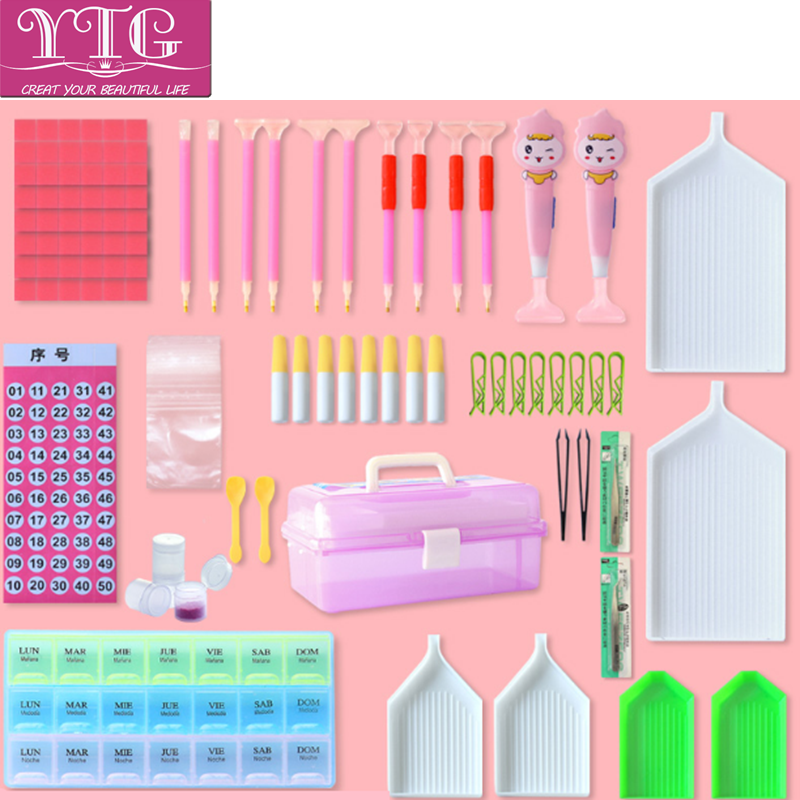 YTG,Tool Box,Diamond Embroidery,Kit,Diamond Painting,Tools,Pen,Tweezer,Tray,Lighten Pen, ...