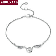 ZHOUYANG Top Quality ZYH082 Silvery Angell Wing Silver Color Bracelet Jewelry Austrian Crystals Wholesale