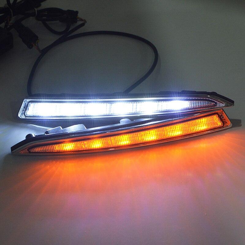 2 шт./компл. светодиодный ДХО дневные ходовые огни для Ford Kuga Escape с поворотными сигнальными лампами