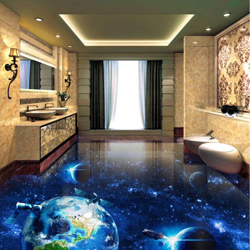 Free Shipping Cosmic Galactic Globe 3D flooring painting wallpaper bar street tea house non-slip PVC floor mural free shipping marble texture parquet flooring 3d floor home decoration self adhesive mural baby room bedroom wallpaper mural